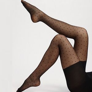 Spanx Black Swiss Dot Tights Pantyhose Sheer Sz C